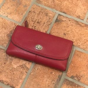 Coach tri fold red leather wallet